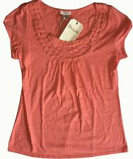 NWT Women's Wrangler Scoop Neck with Crochet Trim Short Sleeve Coral Top Shirt L