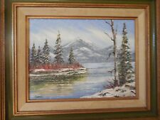 """Framed Oil Painting: (Painting: 12""""x 9"""") (Frame: 16.5""""x 13.5"""")-Winter Landscape"""