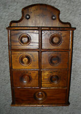 Primitive Antique Oak Wood Spice Cabinet Wall Mount Apothecary Box Chest Drawers
