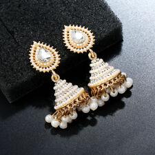 Retro Indian Jhumka Earrings Pearl Pendant Drop Ear Stud Wedding Dangle Jewelry