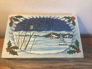 Vintage Christmas card list Metal index card box