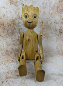 Baby Groot Shelf Sitter 40cm Hand Carved Wooden Figure with Jointed Legs