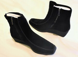 New SPORTO Women Suede Ankle Wedge Heel Side Zip Winter Snow Boot Shoe Sz 8 M