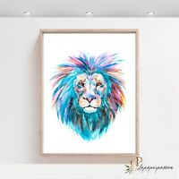 Baby Boys Nursery Print, Lion Wall Art Decor, Safari Jungle animal wall print