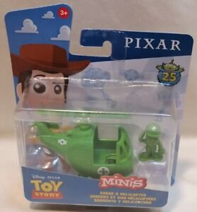 DISNEY PIXAR - *New* Toy Story 4 Minis Sarge Soldier & Helicopter Figure Set