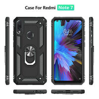 For Xiaomi Redmi Note 7 Shockproof Hybrid Magnetic Ring Holder Stand Case Cover