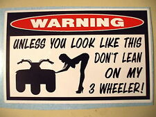 FUNNY WARNING ATC QUAD BIKE ATV THREE WHEELER CC PANEL HELMET STICKER DECAL 328