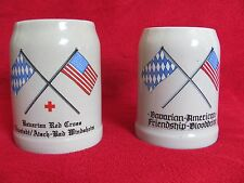 Bavrian/American Friendship Blood Drive, Pair Beer Stein Mug, 0.5 L
