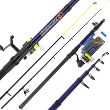 Complete Sea Fishing Set - Telescopic Beachcaster Rod + Reel with Line, Feathers