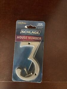 New House Address Street Number 3 Satin Nickel Silver Finish Schlage Brass