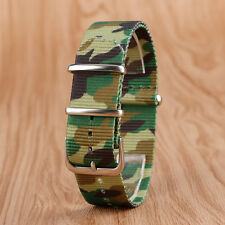 Army Green Camouflage Nylon Fabric Canvas Watch Band 22mm Strap Replacement
