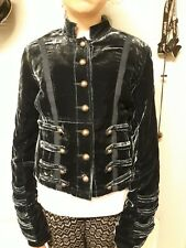 ladies blue velvet gothic military jacket