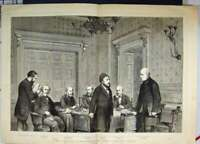 Original Old Antique Print 1871 London Conference Foreign Office World Leaders