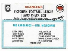 1977 Scanlens Checklist North Melbourne Kangaroos ::
