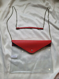 NWOT Women Clear/Red Bag Crossbody Stadium Approved