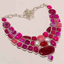 GENUINE STONE!BOTSWANA AGATE,BIG RED RUBY,FRESH WATER PEARL,DRUZI LARGE NECKLACE