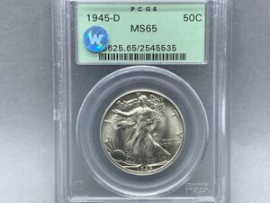 1945-D PCGS MS 65 Walking Liberty Half Silver Dollar! *Sight White Certified!*