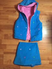 Rags Land Girls Sz. 3-4 Corduroy Turquoise Snowflake Skort And Quilted  Vest Set