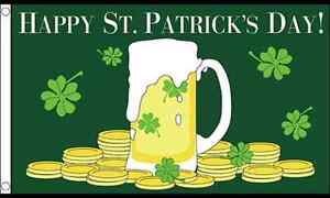 Happy St Patricks Day Beer 5' x 3'  Flag Irish Ireland