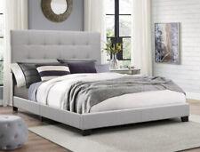 Twin Size Platform Bed Frame Upholstered Headboard Tufted Wood Panel Frame, Gray
