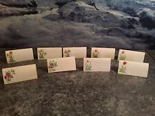 10 Vintage Handmade Place Cards With Flowers Made of Shells   8 Variations