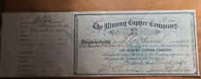 Keweenaw Michigan The Minong Copper Company Stock Certificate
