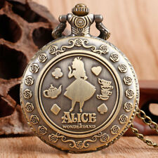 Alice In Wonderland Pocket Watches Chain Vintage Antique Quartz Gifts Necklace