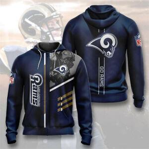 Los Angeles Rams Hoodie Football Zipper Sweatshirt Sport Hooded Jacket Fans Gift