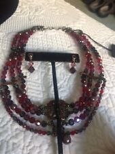 New Swarovski Red 4 Strand Crystal Necklace And Pierced Earring Set W/Tags