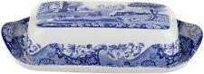 Spode Blue Italian Covered Butter Dish, Porcelain, 8 x 4 - Blue White