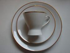 3-teiliges Kaffeegedeck, Rosenthal, Form 2000, weiss mit Goldrand mehrere