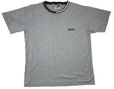 Vintage Tommy Hilfiger Flag Logo Color Block Neck Ringer T Shirt Size L