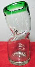 "Optical Illusion 7 1/4"" Bent Glass Vase ~ Green Rim"
