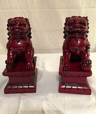 """NEW PAIR (2) CHINESE FOO DOGS IMPERIAL LIONS FUNG SHUI STATUE FIGURE 7"""" TALL"""
