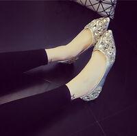 Womens Flat Casual Pointed Toe Slip On Shoes Rhinestone Wedding Bridal Pumps Sz