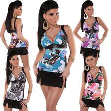 Geblümte figurbetonte ärmellose Damenblusen, - tops & -shirts aus Baumwolle