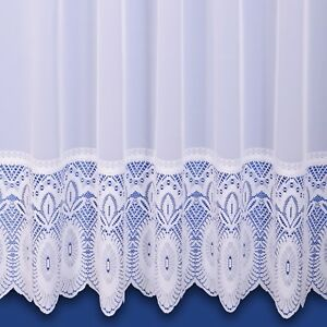 Lilian Lace Base Net Curtain - Finished In White - Preset Sizes - FREE DELIVERY