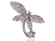 Adorable Sparkle Crystal Embedded Rhinestone Dragonfly Costume Charm Rings