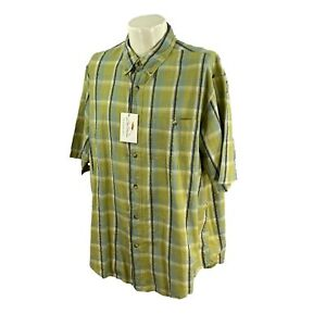 NWT Bob Timberlake Men's Short Sleeve 100% Cotton Green Plaid Outdoor Shirt XL
