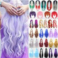 Women Natural Long Hair Full Wig Curly Wavy Straight Hair Wigs Party Cosplay Wig