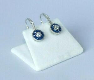 Ladies Art Deco Halo Style 925 Sterling Silver Blue & White Sapphire Earrings