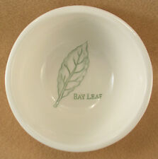 Williams Sonoma Herb Bowl Bay Leaf Made of White China