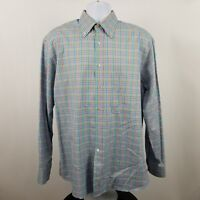 Jeff Rose Mens Multi Color Check L/S Dress Button Shirt Sz Large L Italy Made