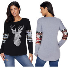 Black loose sequin christmas reindeer top womens shirt autumn winter crew neck