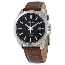 Seiko Black Dial Brown Leather Men's Watch SGEH49P2