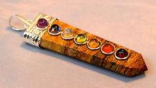Tibetan Silver & Jasper Multi Crystal All-Chakra Pendant, Reiki Blessed, Healing