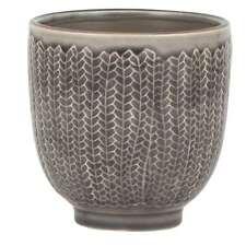 IB LAURSEN ♥ Blumentopf TOPF Fischgrätmuster Keramik grau