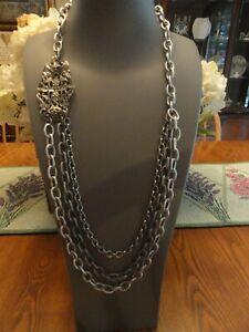 Sabika Triple Chain Necklace With Embellishment 30 Inch W14 Beautiful!