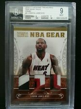 LeBRON JAMES 2010-11 NATIONAL TREASURES NBA GEAR TRIOS JERSEY PATCH #5/10 BGS 9!