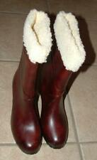 """Dark Brown Sz 8 Casual or Dress Faux Fur Lined Mid Calf Boots 2 1/2"""" Heel"""